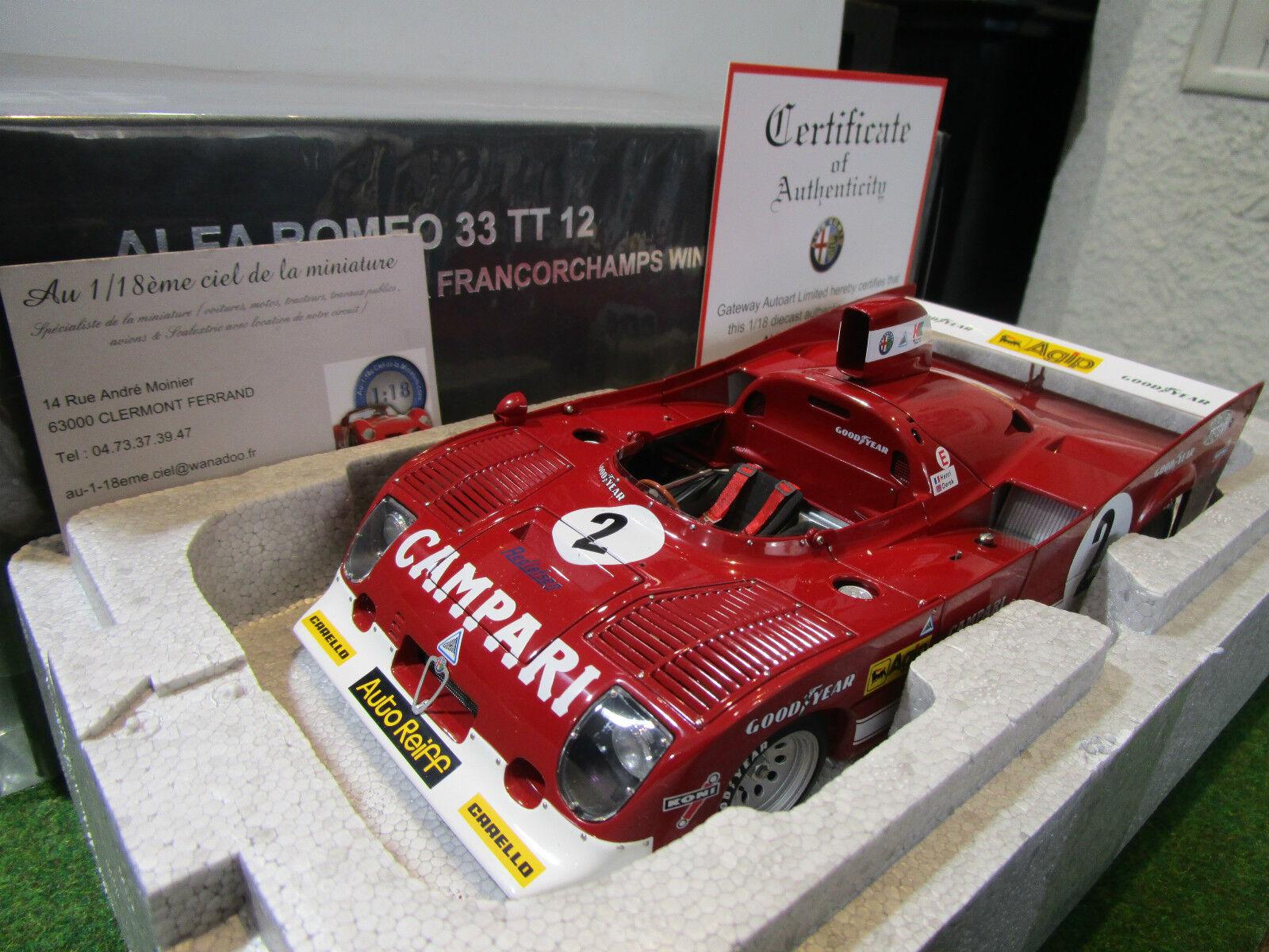 ALFA ROMEO 33 33 33 TT 12  2 WINNER SPA 1975 1 18 AUTOART 87503 voiture miniature coll 491e12