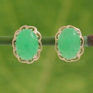 Image Is Loading 14k Solid Yellow Gold Cabochon Oval Green Jade