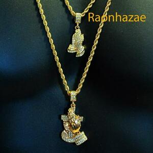 Iced out mini jesus pray hands pendant 24 30 rope 2 chain combo image is loading iced out mini jesus pray hands pendant 24 aloadofball Choice Image