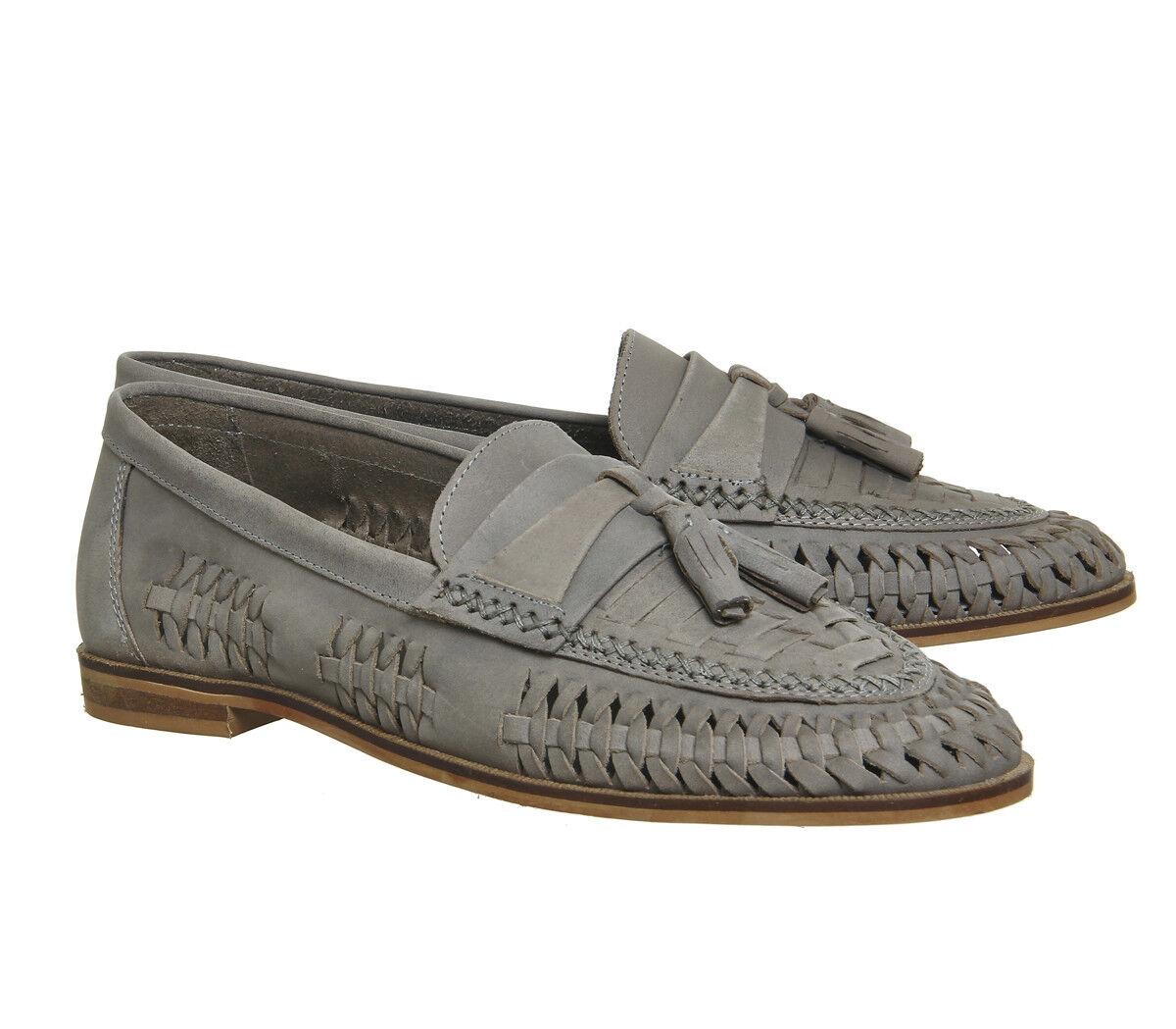 Office Finsbury Woven Tassle Light Grey Leather Men's shoes Size UK 6