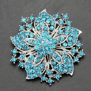 """2 el /""""aspecto Vintage Flor Estrella Turquesa Diamante Estrás Cristal Broche Pin"""