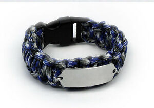 Image Is Loading Paracord Travel Id Bracelet Free Engraving And Emergency