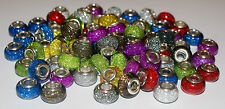 100 Wholesale Job Lot GLITTER SPARKLY BEAD Silver European Charm
