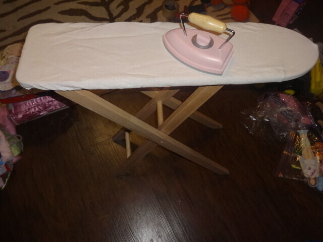 POTTERY BARN KIDS IRONING BOARD AND PINK IRON WOOD WOODEN