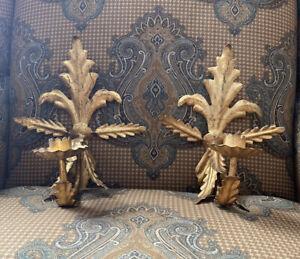Vintage Paire De Italien Doré Gold Fleur De Lis mur appliques chandeliers