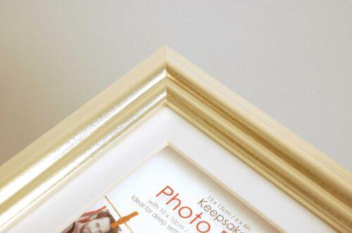 Silver Deep Box Frames Wooden Display Picture Frames Bevel Cut Mount