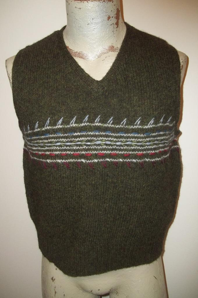 J.CREW Drab Green Multi-colord Yarn Embroidered 100% Wool Sweater Vest  XL