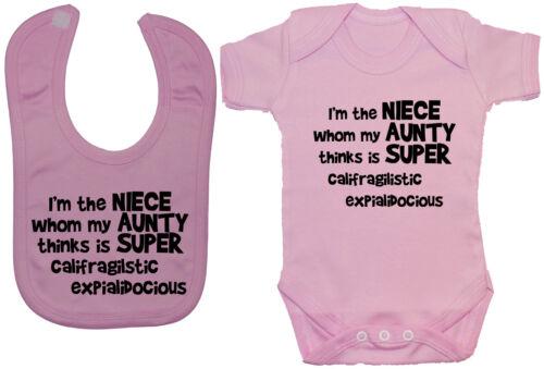 Niece Aunty..Babygrow Bodysuit Romper T-Shirt /& Feeding Bib 0-24m Girl Funny