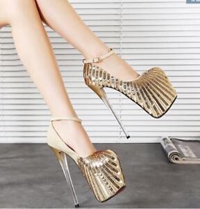 tacco cinturino caviglia 2 5 scarpe alto Stiletti Sexy Womens 8 paillettes Uk 5 Nightclub alla COzx4Cq0w5