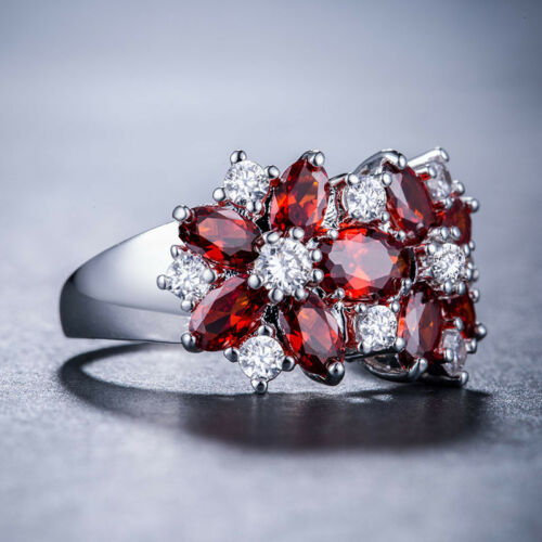 Women 925 Silver Jewelry Garnet /& White Sapphire Wedding Ring Size 6-10