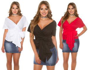 Blusa-donna-maglietta-incrociata-portafoglio-fiocco-sexy-elegante-manica-corta