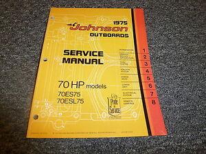 1975 johnson 70 hp models outboard motor shop service repair rh ebay com 1976 Johnson Outboard 1975 johnson 15 hp outboard manual
