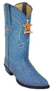 9206d70e3b2 Details about LOS ALTOS OSTRICH COWBOY BOOTS J-TOE 990314 BLUE JEAN