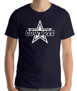 DALLAS-COWBOYS-NAVY-T-shirt-WHITE-Graphic-Cotton-Adult-Logo-S-2XL