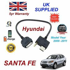 For Hyundai SANTA FE iPhone 3gs 4 4s iPod USB & 3.5mm Aux Cable Pre 2012