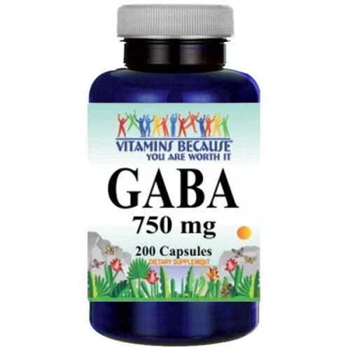 GABA-750mg-200-Caps-Gamma-Aminobutyric-Acid-USDA-Facility