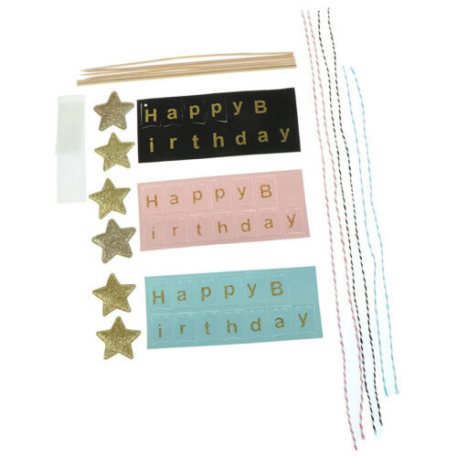 Happy Birthday Cake Topper Cupcake Toppers Flag Banner Baby Shower Boy GirlTENM