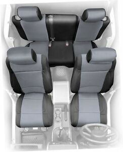 Astounding Details About 2008 2012 Jeep Wrangler Unlimited 4 Door Neoprene Seat Covers Set Black Gray Gamerscity Chair Design For Home Gamerscityorg