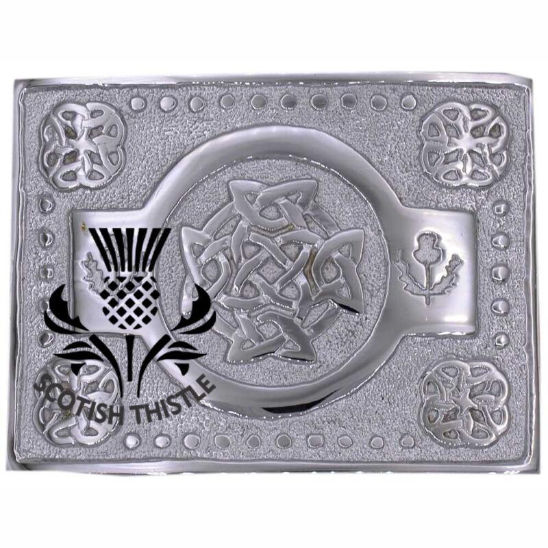 100% QualitäT St Distel Keltische Knoten Schottenrock Gürtelschnalle Silberpolitur Schottische Ausgezeichnet Im Kisseneffekt