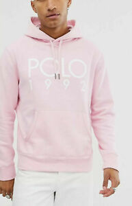 Polo-Ralph-Lauren-Men-039-s-SZ-Medium-Fleece-Graphic-1992-Hoodie-Pink-White