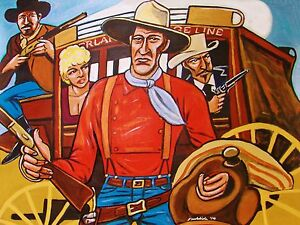 JOHN-WAYNE-PAINTING-stagecoach-ford-western-cowboy-hat-winchester-gun-carradine