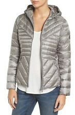 New Bernardo Angle Down Primaloft Quilted Gray Packable Puffer Jacket Coat P S