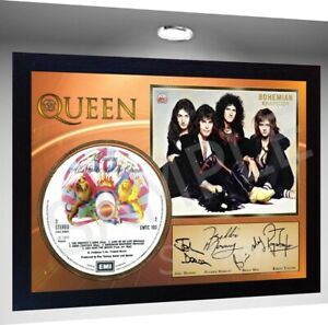 QUEEN FREDDY MERCURY SIGNED FRAMED GOLD VINYL RECORD CD /& PHOTO DISPLAY