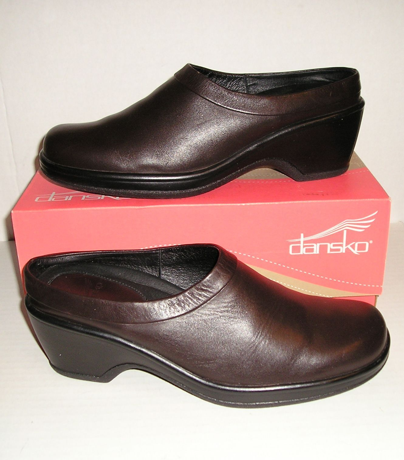 DANSKO Women's Dark Brown Leather Dress Mules Clogs Slip-Ons 40 EU   9.5 - 10 US