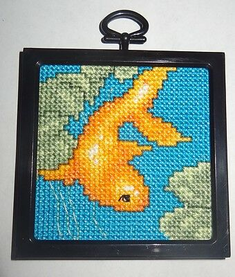 Gold Fish ornament picture framed Finished Cross Stitch Handmade Lily Pads