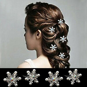 4Pcs-Women-039-s-Snow-Flake-Embedded-Rhinestone-Faux-Pearl-Hair-Pins-Clips-Perfect