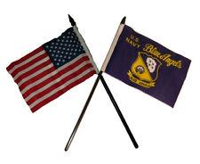 "USA American w/ U.S. Navy Blue Angels Flag 4""x6"" Desk Set Gold Base"