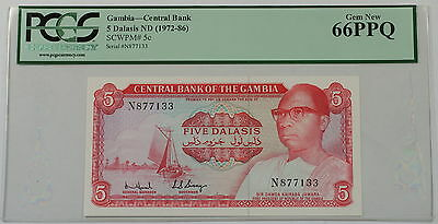 (1972-86) Gambia Central Bank 5 Dalasis Note Scwpm# 5c Pcgs 66 Ppq Gem New Bracing Up The Whole System And Strengthening It