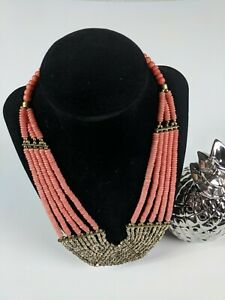 MULTI-STRAND-CORAL-MIXED-METAL-BEADED-COLLAR-BIB-STATEMENT-NECKLACE-18-034