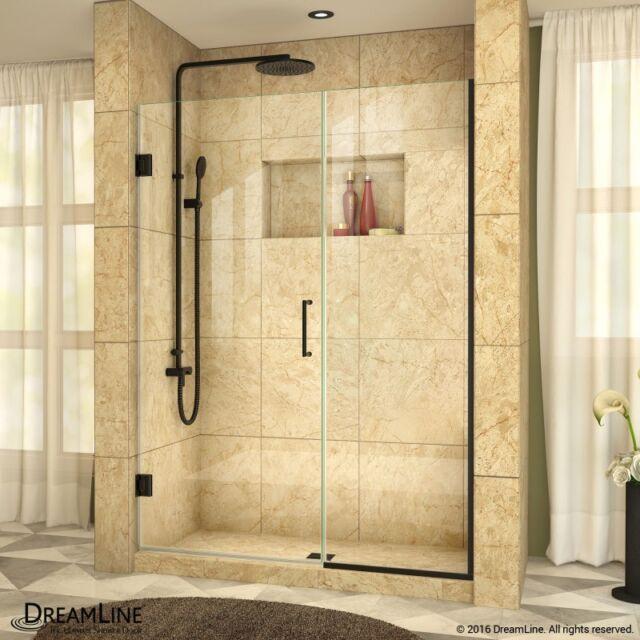 Frameless Hinged Shower Door And Panel.Unidoor Plus 52 52 1 2 X 72 Dreamline Frameless Hinged Shower Door Satin Black