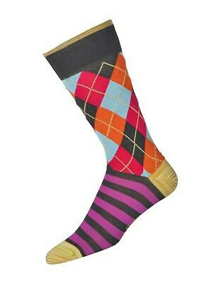 Robert Graham Peruvian cotton Mid Calf socks Brown yellow pink turquoise
