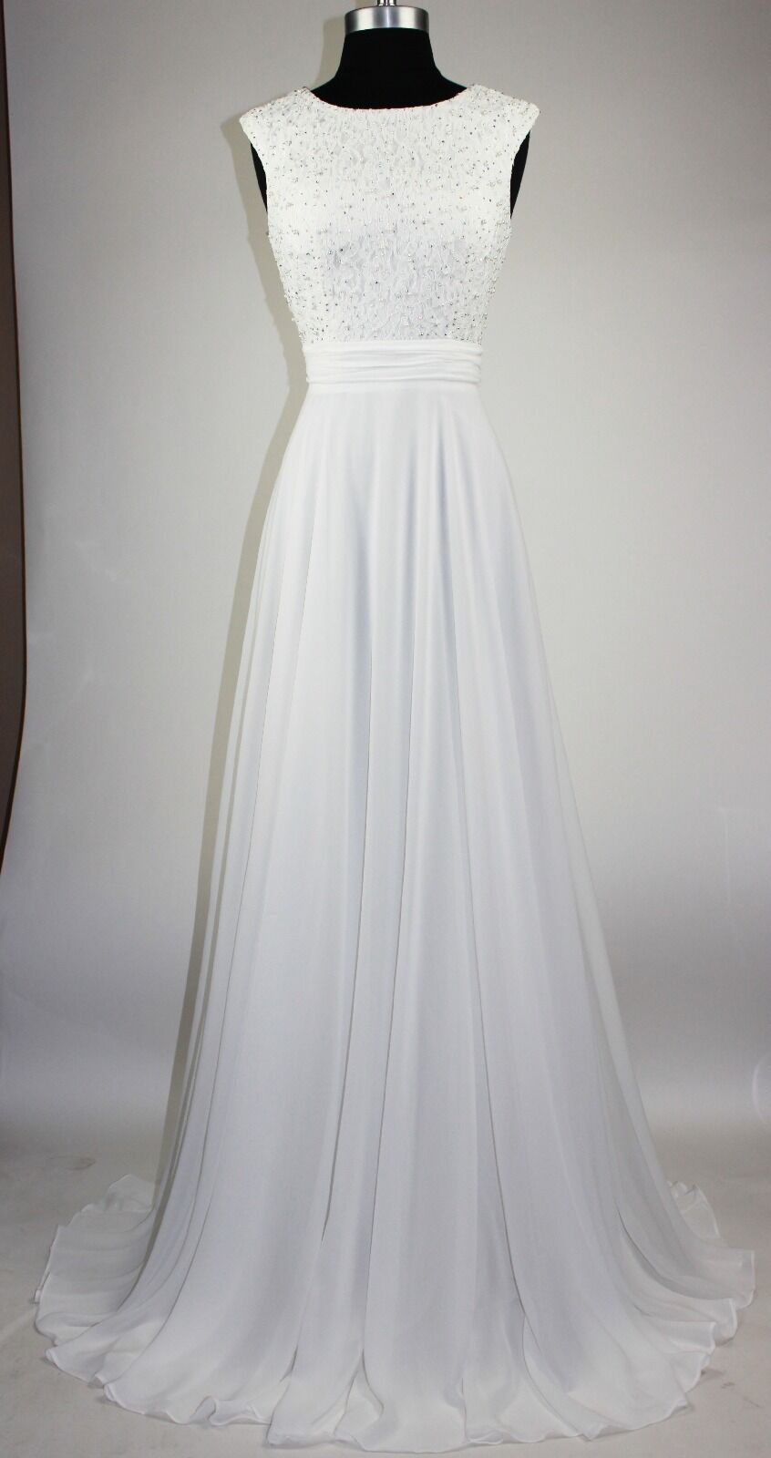 Women's Formal Sheer Pearl Sequins beaded Long Evening Gown prom dress