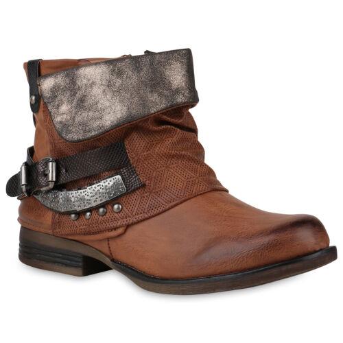 Damen Stiefeletten Biker Boots Schnallen Nieten Modische 818439 Schuhe