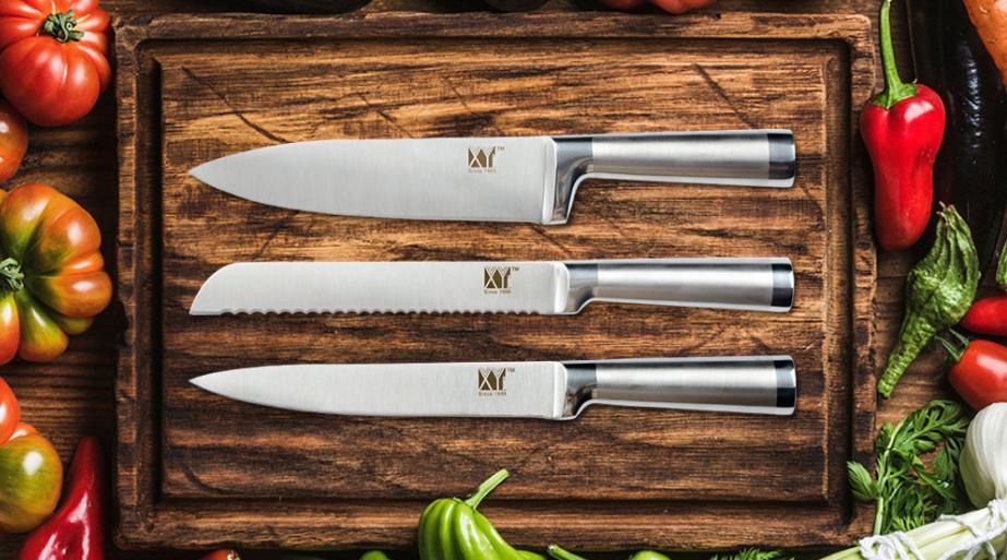 3PCs Knife Set Stainless Steel Chef Santoku Utility Kitchen Pair Boning Bread XL