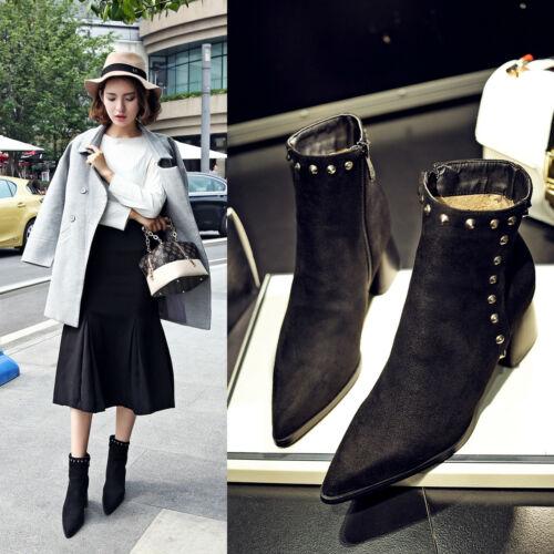 Women/'s Suede High Heels Chunky Side Zip Pointy Toe Ankle Boots Rivets Shoes