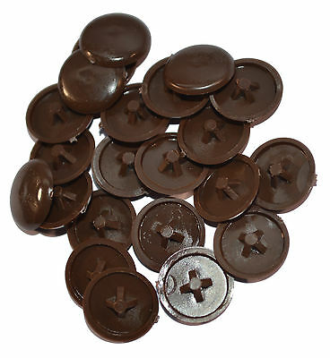 Dark Brown Plastic Press-Fit Pozi Screw Head Cover Caps Choose Quantity