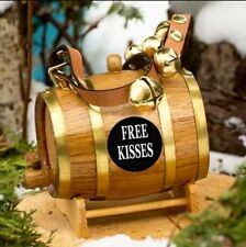Saint Bernard St Barrel Sleigh Bell Keg Leather Dog Collar Free Kisses Unique