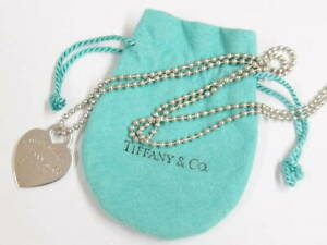 Tiffany Co Sterling Silver Return To Tiffany Heart Tag Ball Chain Necklace Ebay