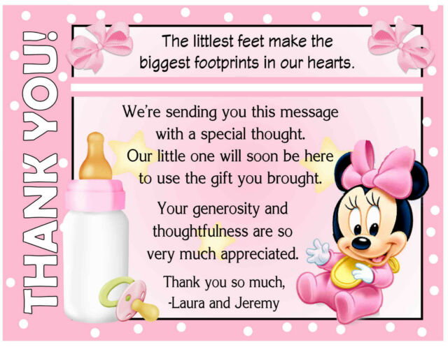20 baby minnie mouse baby shower thank you cards with envelopes