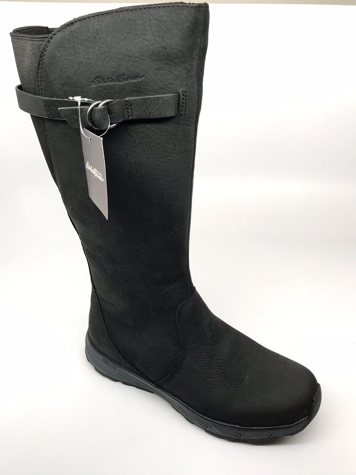 Eddie Bauer Womens Lodge Freeheat Black Leather Boots Size 8 M Waterproof