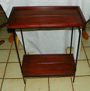 Image Is Loading Cherry And Black Iron Entry Table Side Table