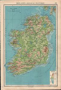 1936 Map Ireland Physical Irish Free State Northern