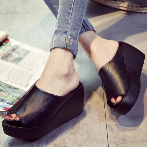 Womens Platform Taller Wedge Slide Sandals Open Toe Flip Flop Summer Slippers