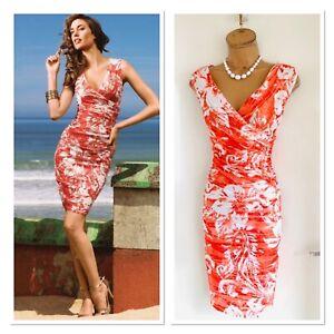 Joseph Ribkoff Red White Textured Gathered Bodycon Dress Uk Size 14 Ebay