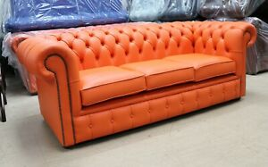 Details about NEW CHESTERFIELD TUFTED BUTTONED 3 SEATER SOFA COUCH REAL  ORANGE LEATHER