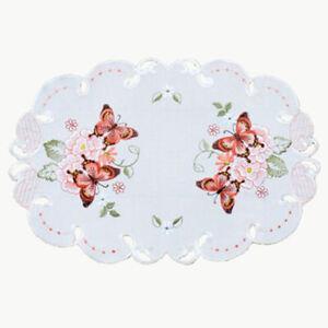 Tischdecke Deckchen ca. 30 x 45 Tischset - Blumen Schmetterlinge - NEU